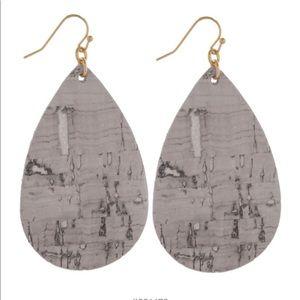 Cork Inspired Teardrop Earrings